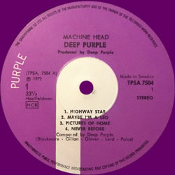 Machine Head, LP, Sweden, 1972