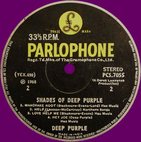 Shades Of Deep Purple (19??) LP India
