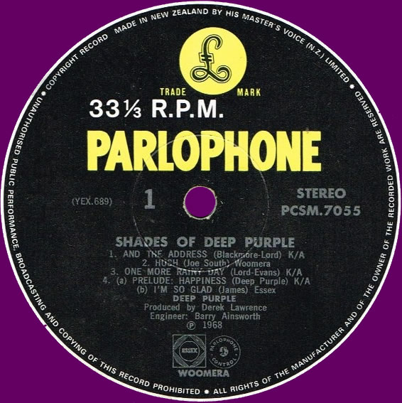 Shades Of Deep Purple (1968) LP New Zealand