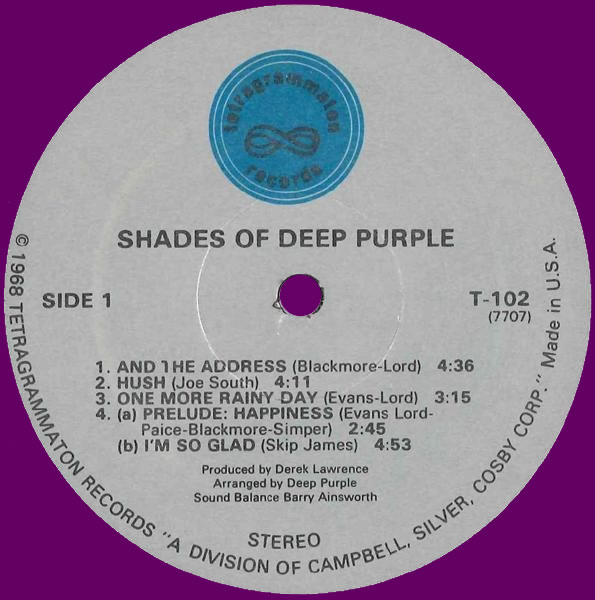 Shades Of Deep Purple (1968) LP USA