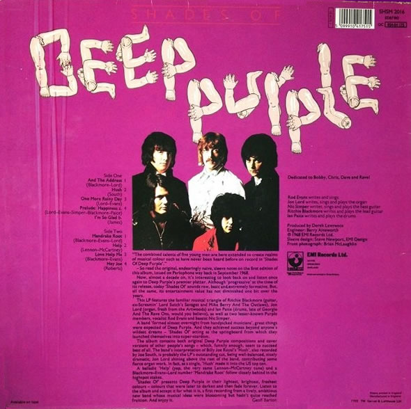 Shades Of Deep Purple (1987) LP Repress England