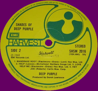Shades Of Deep Purple (1977) LP Repress England